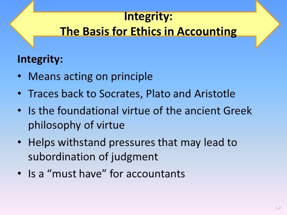 1-2 Integrity: The Basis for Ethics in Accounting Integrity: Means acting on principle Traces back to Socrates, Plato and Aristotle Is the foundationa