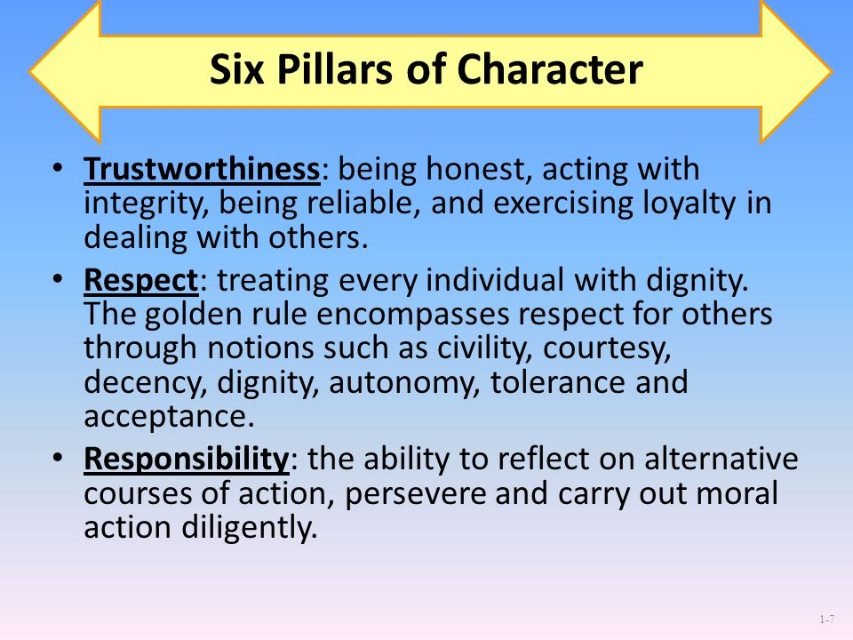 1-7 Six Pillars of Character Trustworthiness: being honest, acting with integrity, being reliable, and exercising loyalty in dealing with others. Resp