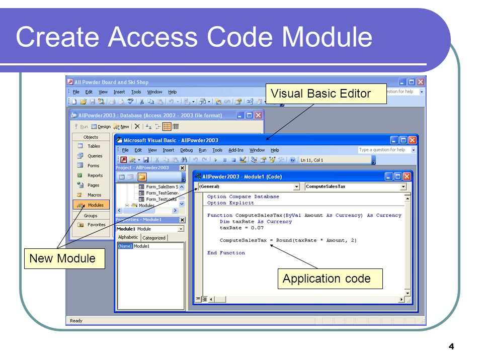 4 Create Access Code Module New Module Visual Basic Editor Application code
