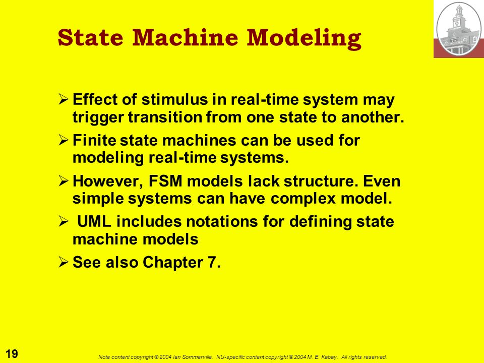 19 Note content copyright © 2004 Ian Sommerville. NU-specific content copyright © 2004 M. E. Kabay. All rights reserved. State Machine Modeling Effect