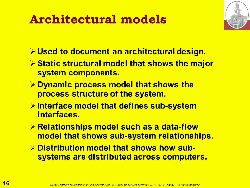 16 Notes content copyright © 2004 Ian Sommerville. NU-specific content copyright © 2004 M. E. Kabay. All rights reserved. Architectural models Used to