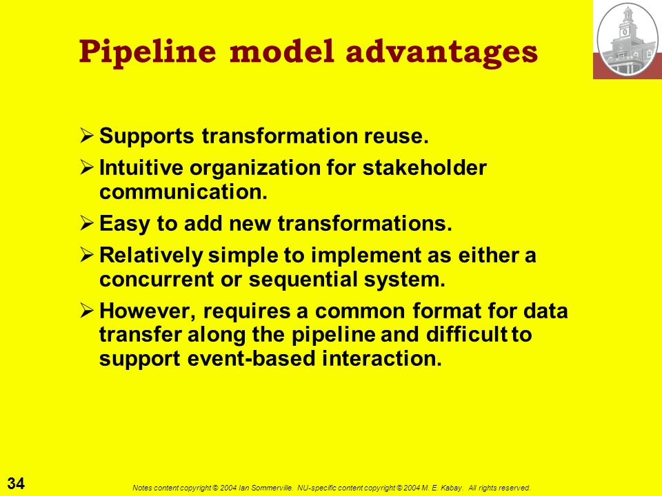 34 Notes content copyright © 2004 Ian Sommerville. NU-specific content copyright © 2004 M. E. Kabay. All rights reserved. Pipeline model advantages Su