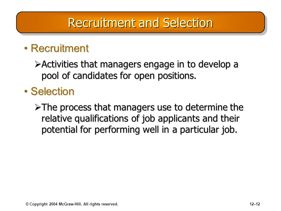 © Copyright 2004 McGraw-Hill. All rights reserved.12–12 Recruitment and Selection RecruitmentRecruitment Activities that managers engage in to develop