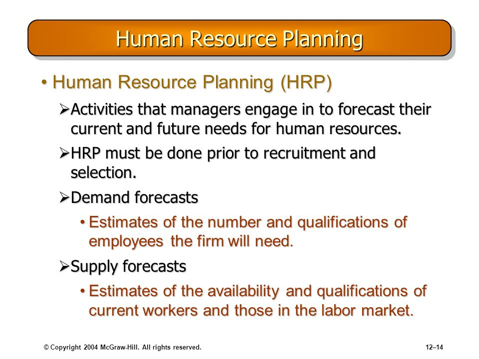 © Copyright 2004 McGraw-Hill. All rights reserved.12–14 Human Resource Planning Human Resource Planning (HRP)Human Resource Planning (HRP) Activities