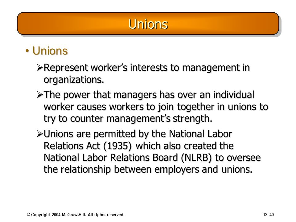 © Copyright 2004 McGraw-Hill. All rights reserved.12–40 UnionsUnions UnionsUnions Represent workers interests to management in organizations. Represen