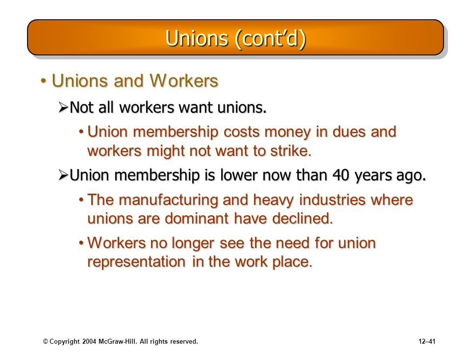 © Copyright 2004 McGraw-Hill. All rights reserved.12–41 Unions (contd) Unions and WorkersUnions and Workers Not all workers want unions. Not all worke