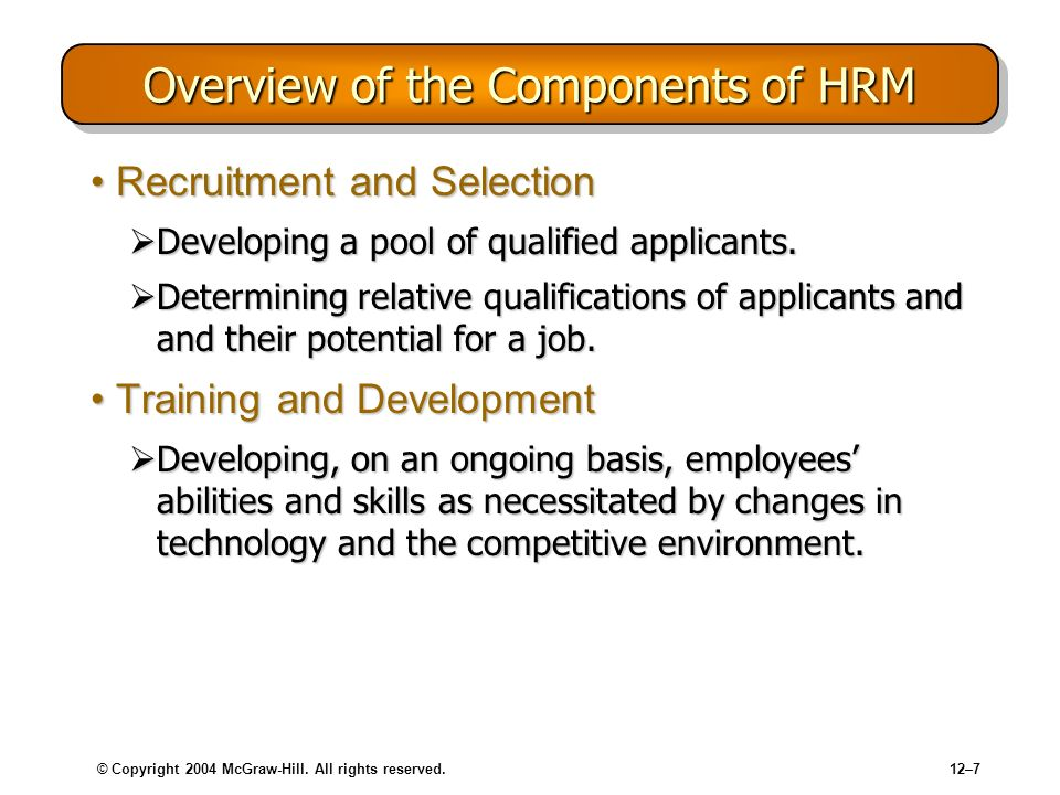 © Copyright 2004 McGraw-Hill. All rights reserved.12–7 Overview of the Components of HRM Recruitment and SelectionRecruitment and Selection Developing