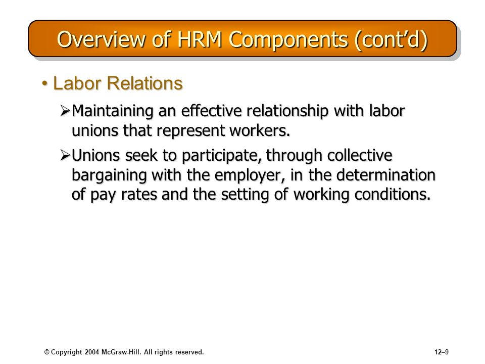 © Copyright 2004 McGraw-Hill. All rights reserved.12–9 Overview of HRM Components (contd) Labor RelationsLabor Relations Maintaining an effective rela