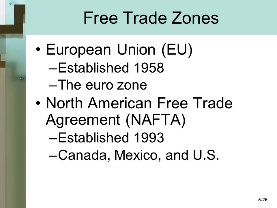Free Trade Zones European Union (EU) –Established 1958 –The euro zone North American Free Trade Agreement (NAFTA) –Established 1993 –Canada, Mexico, and U.S.