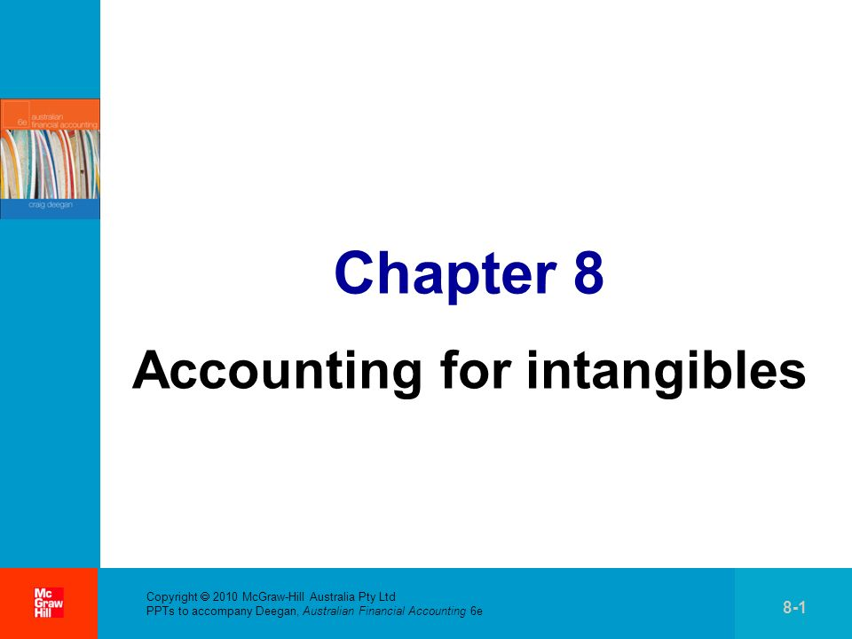 . Copyright 2010 McGraw-Hill Australia Pty Ltd PPTs to accompany Deegan, Australian Financial Accounting 6e 8-1 Chapter 8 Accounting for intangibles