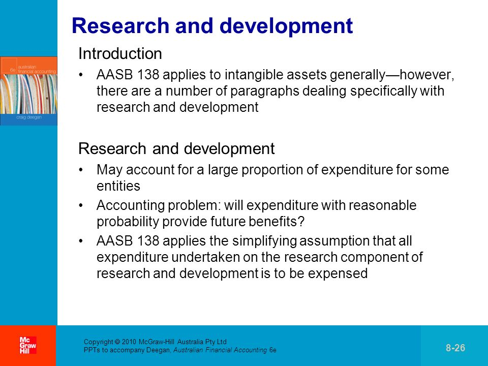 . Copyright 2010 McGraw-Hill Australia Pty Ltd PPTs to accompany Deegan, Australian Financial Accounting 6e 8-26 Research and development Introduction
