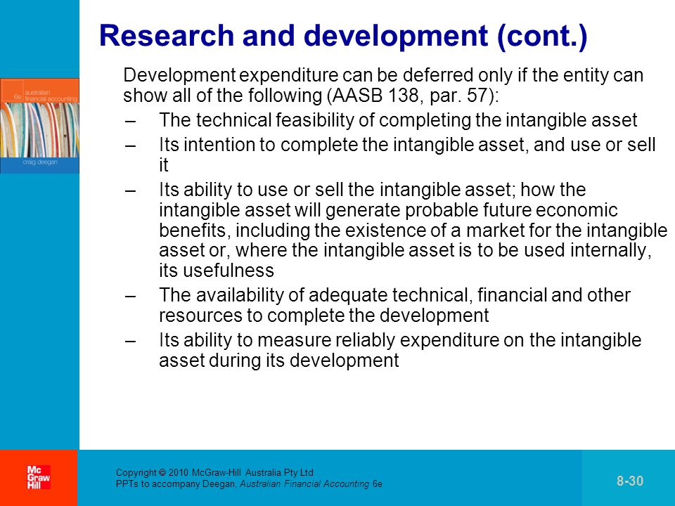 Copyright 2010 McGraw-Hill Australia Pty Ltd PPTs to accompany Deegan, Australian Financial Accounting 6e 8-30 Research and development (cont.) Development expenditure can be deferred only if the entity can show all of the following (AASB 138, par.