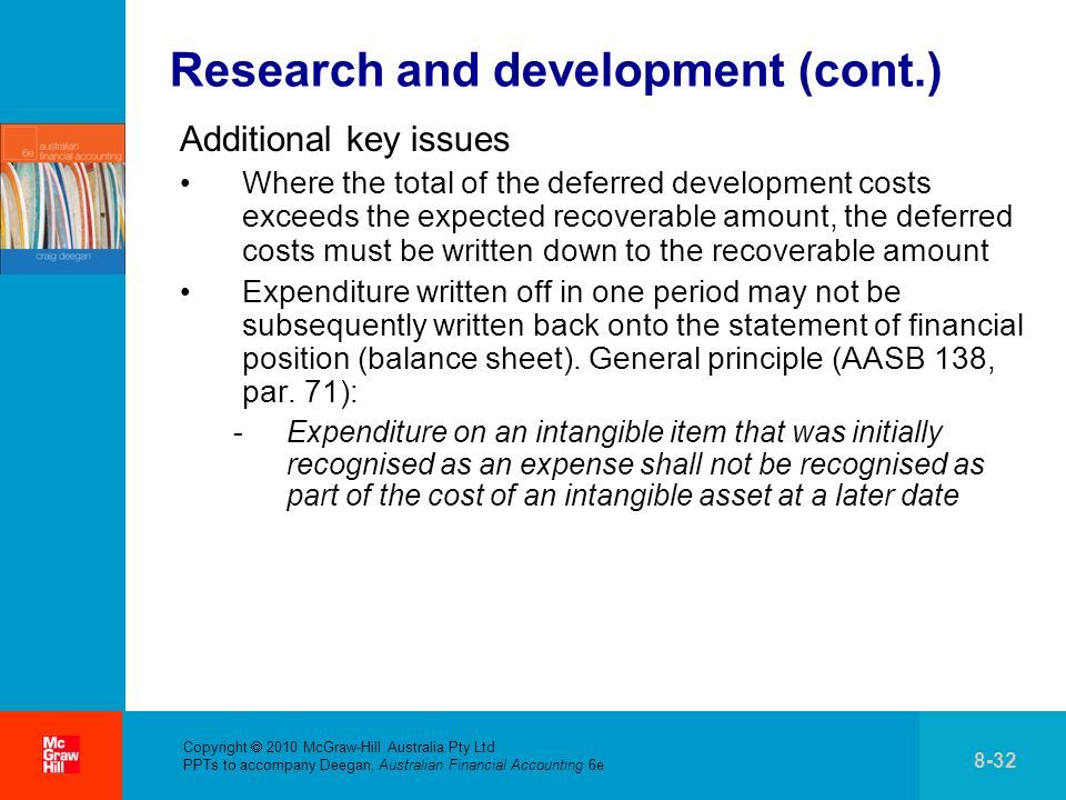 Copyright 2010 McGraw-Hill Australia Pty Ltd PPTs to accompany Deegan, Australian Financial Accounting 6e 8-32 Research and development (cont.) Additional key issues Where the total of the deferred development costs exceeds the expected recoverable amount, the deferred costs must be written down to the recoverable amount Expenditure written off in one period may not be subsequently written back onto the statement of financial position (balance sheet).