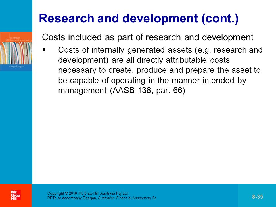 . Copyright 2010 McGraw-Hill Australia Pty Ltd PPTs to accompany Deegan, Australian Financial Accounting 6e 8-35 Research and development (cont.) Cost