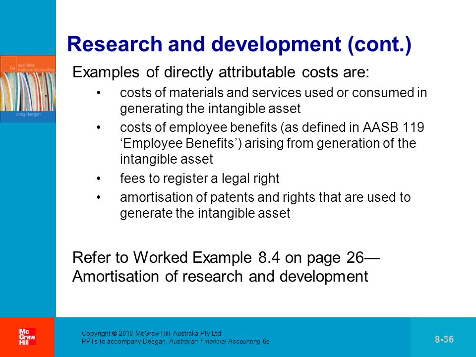 . Research and development (cont.) Examples of directly attributable costs are: costs of materials and services used or consumed in generating the int