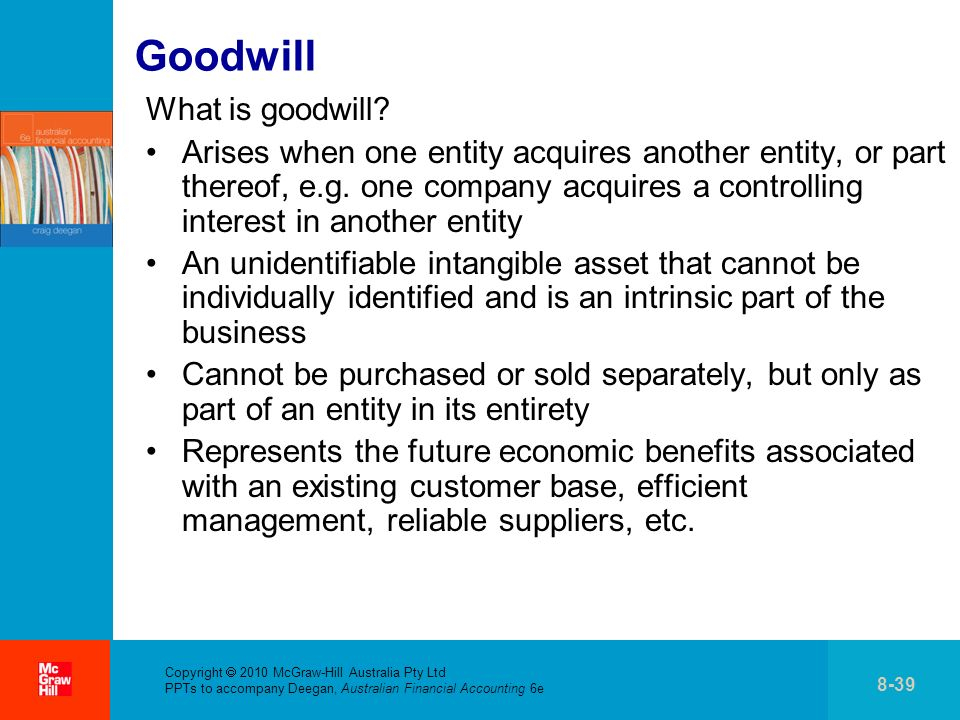 Copyright 2010 McGraw-Hill Australia Pty Ltd PPTs to accompany Deegan, Australian Financial Accounting 6e 8-39 Goodwill What is goodwill.