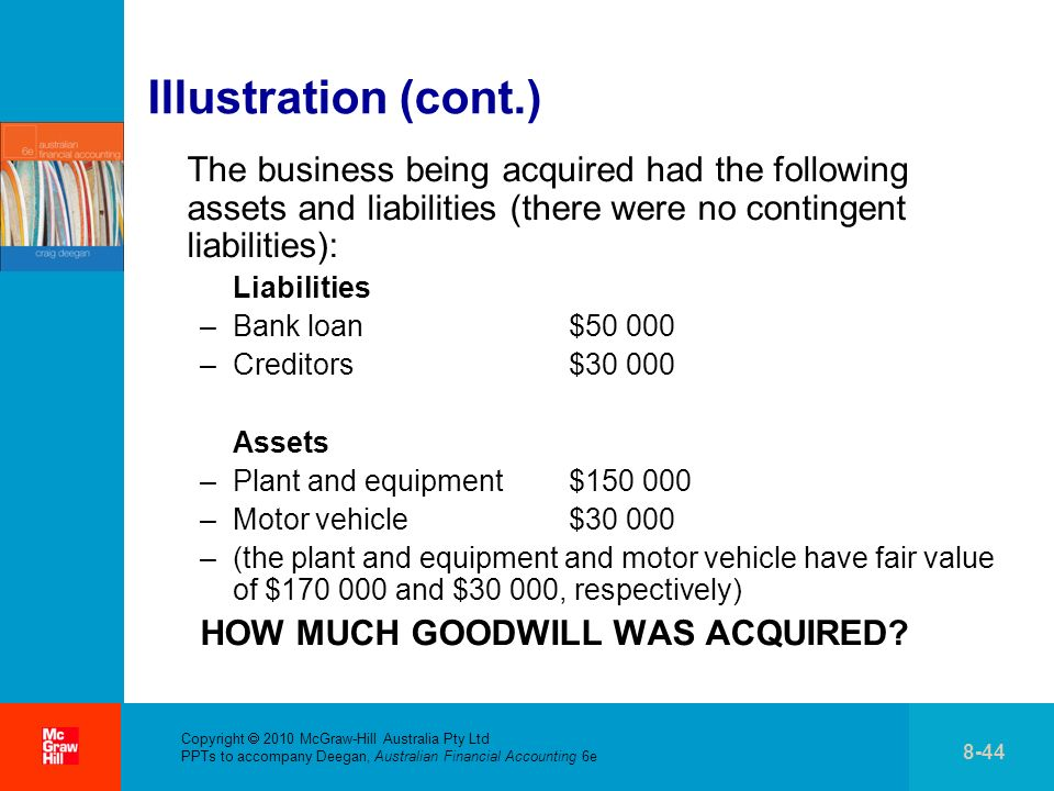 . Copyright 2010 McGraw-Hill Australia Pty Ltd PPTs to accompany Deegan, Australian Financial Accounting 6e 8-44 Illustration (cont.) The business bei