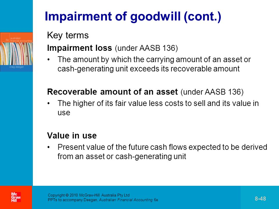 . Copyright 2010 McGraw-Hill Australia Pty Ltd PPTs to accompany Deegan, Australian Financial Accounting 6e 8-48 Impairment of goodwill (cont.) Key te