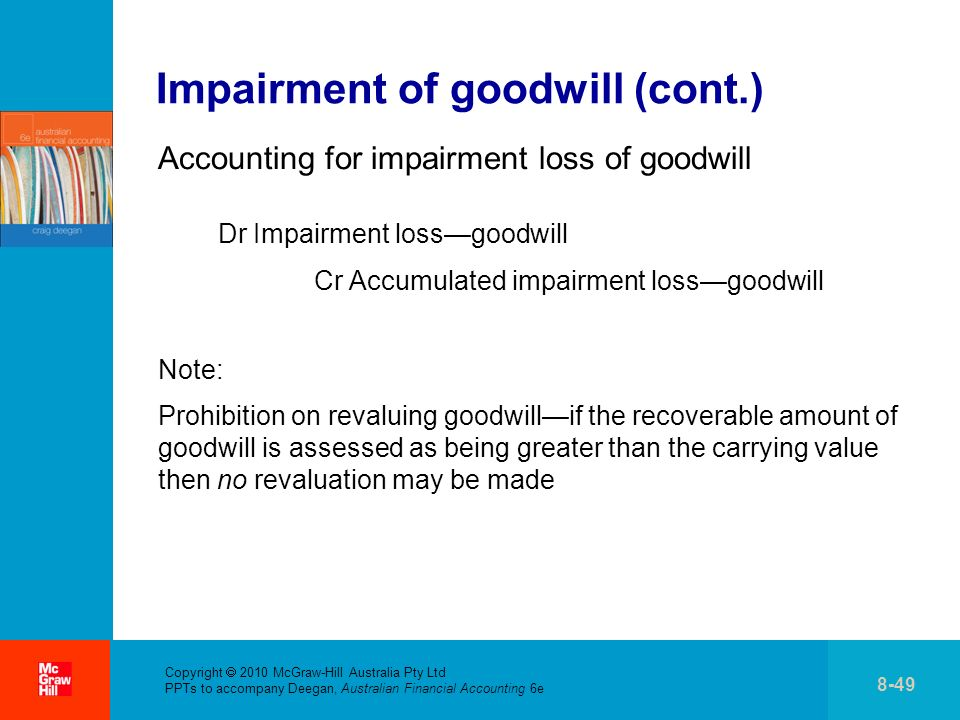 . Copyright 2010 McGraw-Hill Australia Pty Ltd PPTs to accompany Deegan, Australian Financial Accounting 6e 8-49 Impairment of goodwill (cont.) Accounting for impairment loss of goodwill Dr Impairment lossgoodwill Cr Accumulated impairment lossgoodwill Note: Prohibition on revaluing goodwillif the recoverable amount of goodwill is assessed as being greater than the carrying value then no revaluation may be made