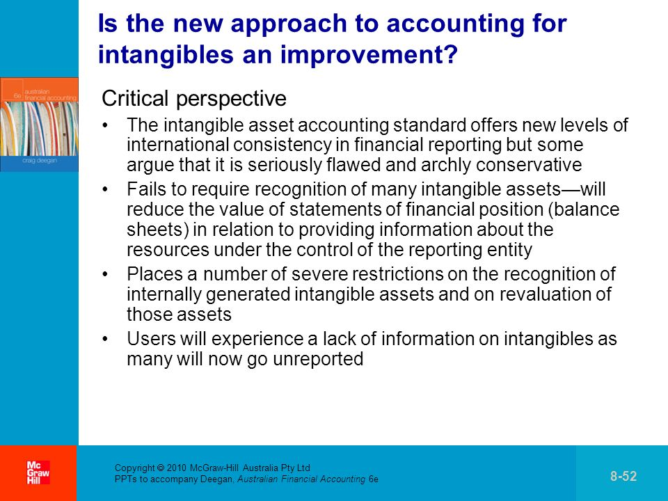 Copyright 2010 McGraw-Hill Australia Pty Ltd PPTs to accompany Deegan, Australian Financial Accounting 6e 8-52 Is the new approach to accounting for intangibles an improvement.