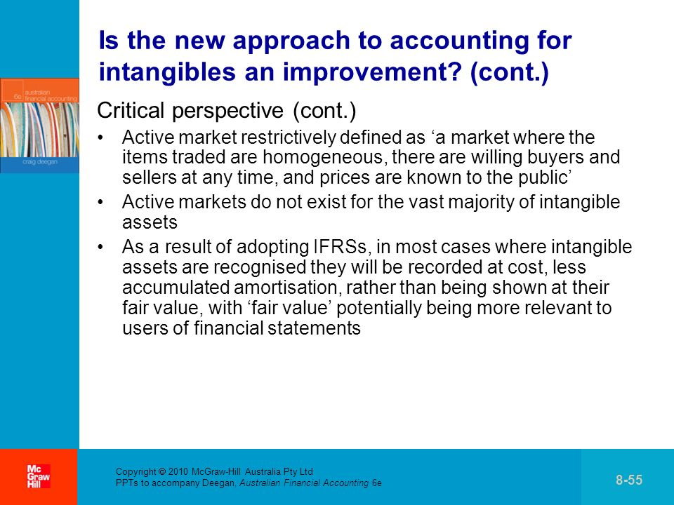 Copyright 2010 McGraw-Hill Australia Pty Ltd PPTs to accompany Deegan, Australian Financial Accounting 6e 8-55 Is the new approach to accounting for intangibles an improvement.