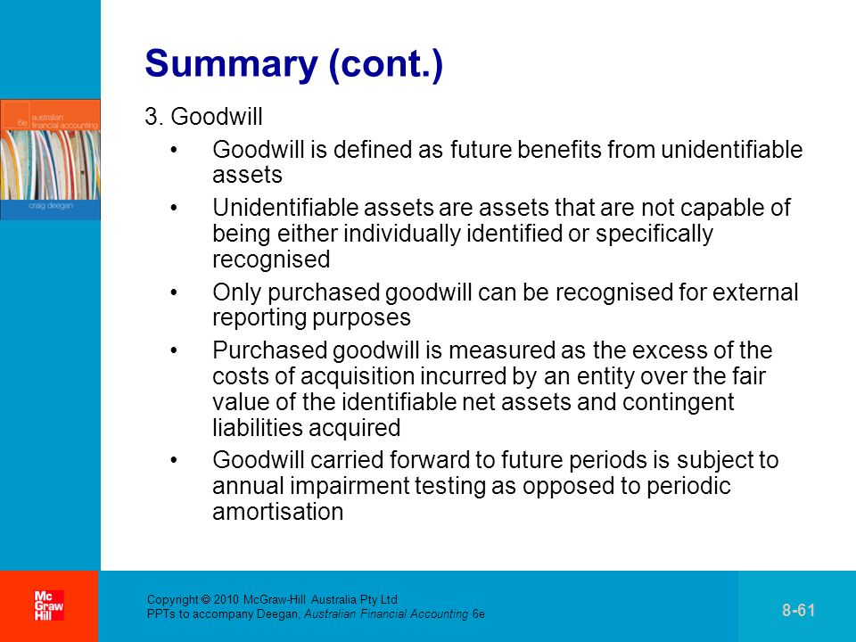 . Copyright 2010 McGraw-Hill Australia Pty Ltd PPTs to accompany Deegan, Australian Financial Accounting 6e 8-61 Summary (cont.) 3. Goodwill Goodwill