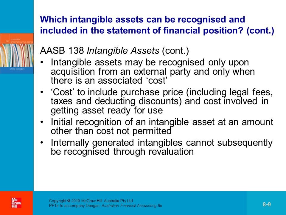 . Which intangible assets can be recognised and included in the statement of financial position? (cont.) AASB 138 Intangible Assets (cont.) Intangible