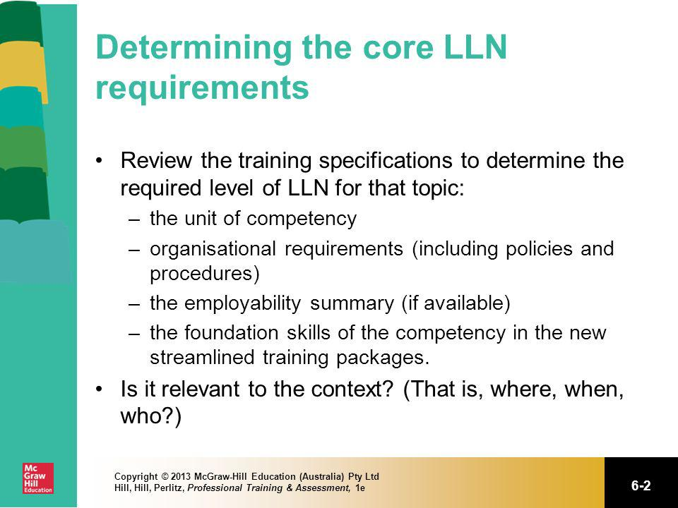 6-2 Copyright © 2013 McGraw-Hill Education (Australia) Pty Ltd Hill, Hill, Perlitz, Professional Training & Assessment, 1e Determining the core LLN re