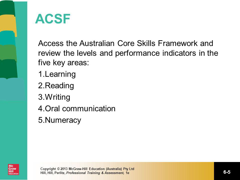 6-5 Copyright © 2013 McGraw-Hill Education (Australia) Pty Ltd Hill, Hill, Perlitz, Professional Training & Assessment, 1e ACSF Access the Australian