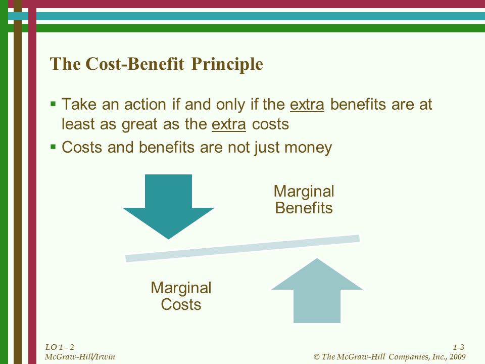 1-3 © The McGraw-Hill Companies, Inc., 2009 McGraw-Hill/Irwin LO 1 - 2 The Cost-Benefit Principle Take an action if and only if the extra benefits are