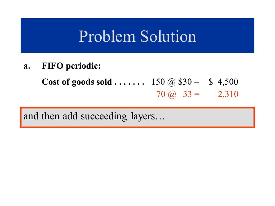 Problem Solution a.FIFO periodic: Cost of goods sold....... 150 @ $30 = $ 4,500 70 @ 33 = 2,310 and then add succeeding layers…