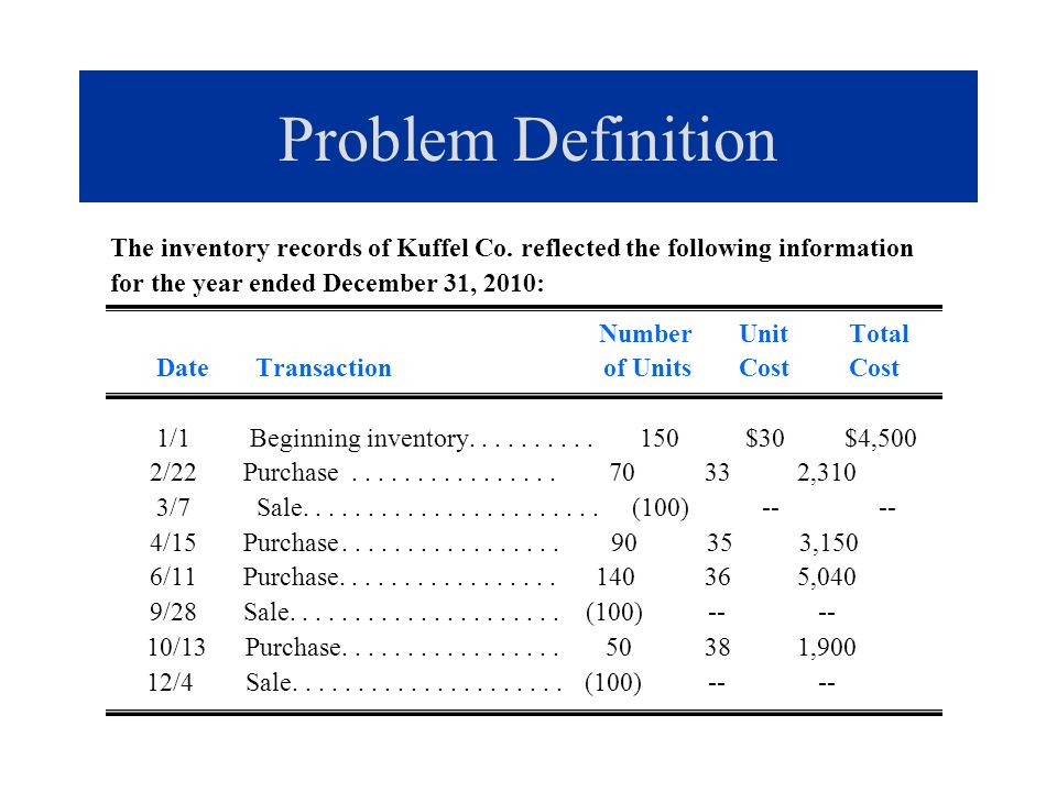 Problem Solution b.LIFO perpetual: Cost of goods sold.......