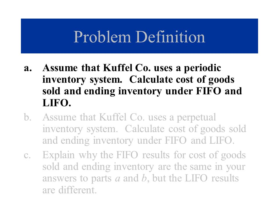 Problem Solution a.FIFO periodic: Cost of goods sold.......