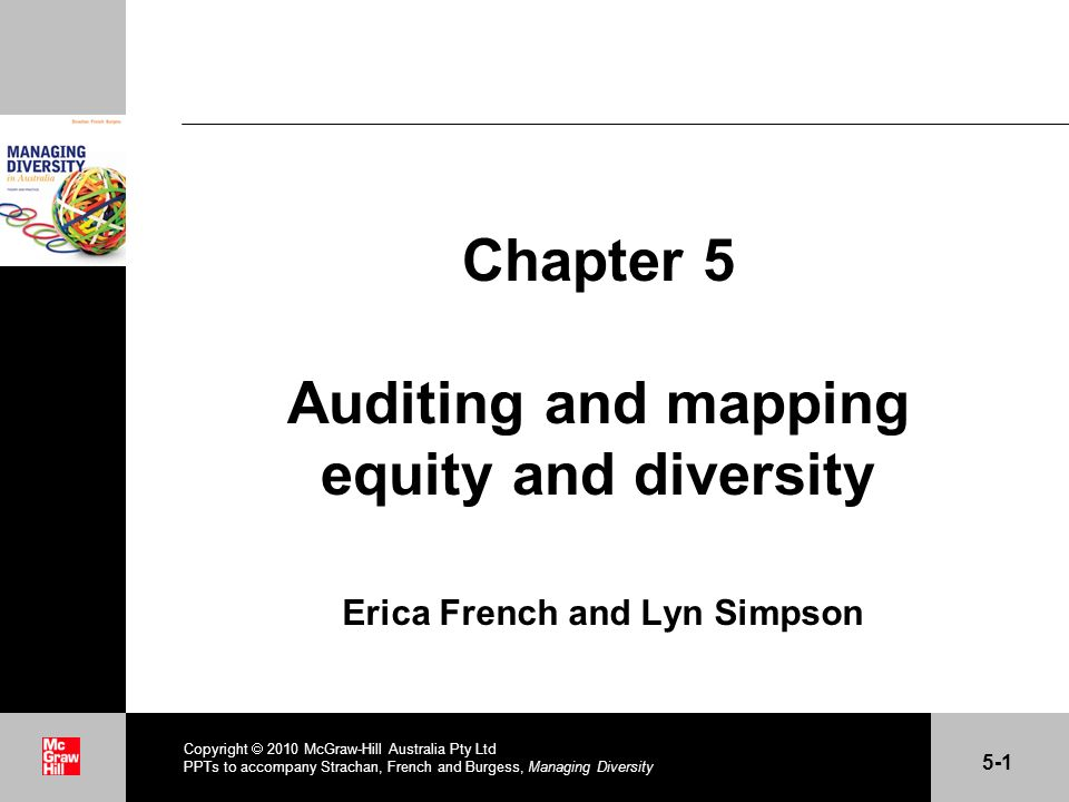 . Chapter 5 Auditing and mapping equity and diversity Erica French and Lyn Simpson Copyright 2010 McGraw-Hill Australia Pty Ltd PPTs to accompany Stra