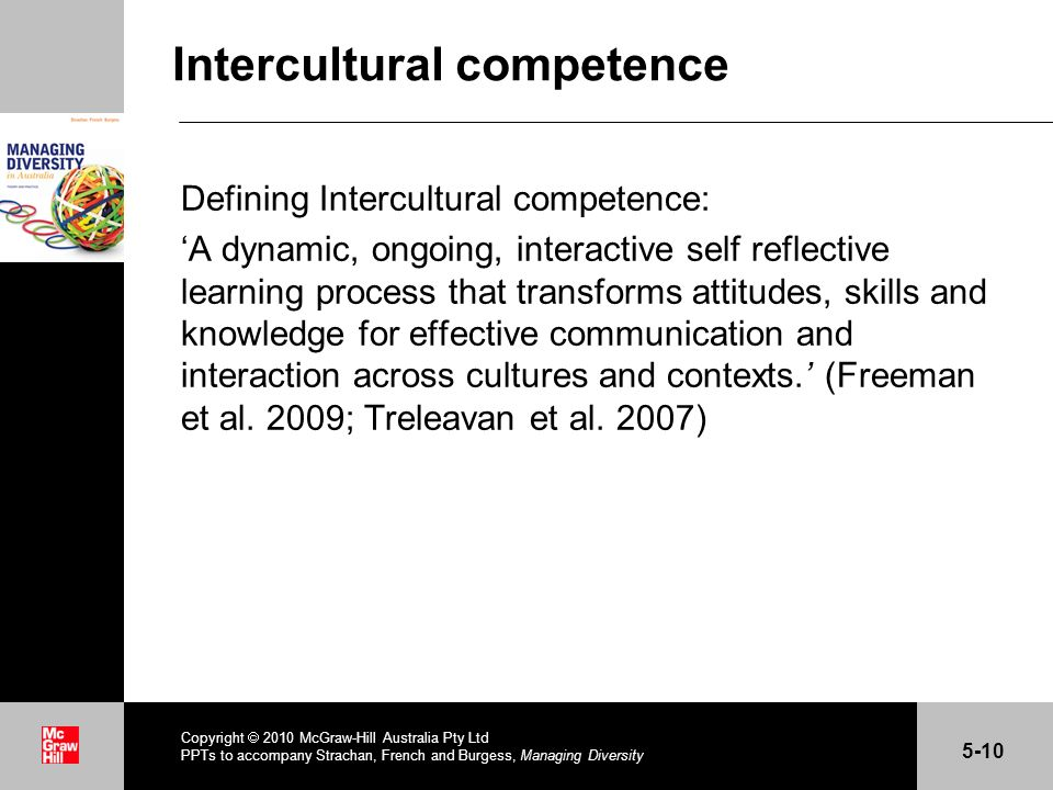 . Intercultural competence Defining Intercultural competence: A dynamic, ongoing, interactive self reflective learning process that transforms attitud