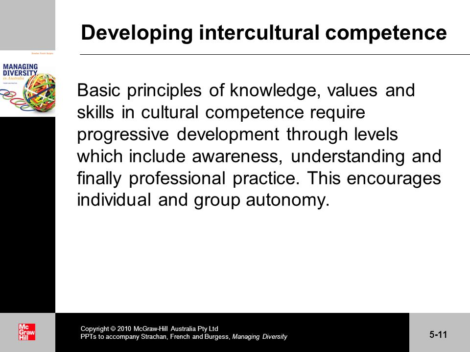 . Developing intercultural competence Basic principles of knowledge, values and skills in cultural competence require progressive development through