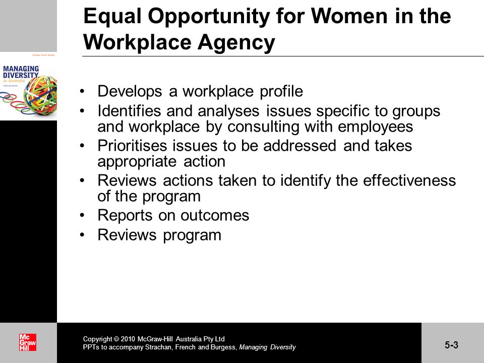 . Equal Opportunity for Women in the Workplace Agency Develops a workplace profile Identifies and analyses issues specific to groups and workplace by