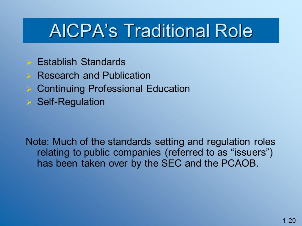 1-20 AICPAs Traditional Role Establish Standards Research and Publication Continuing Professional Education Self-Regulation Note: Much of the standard
