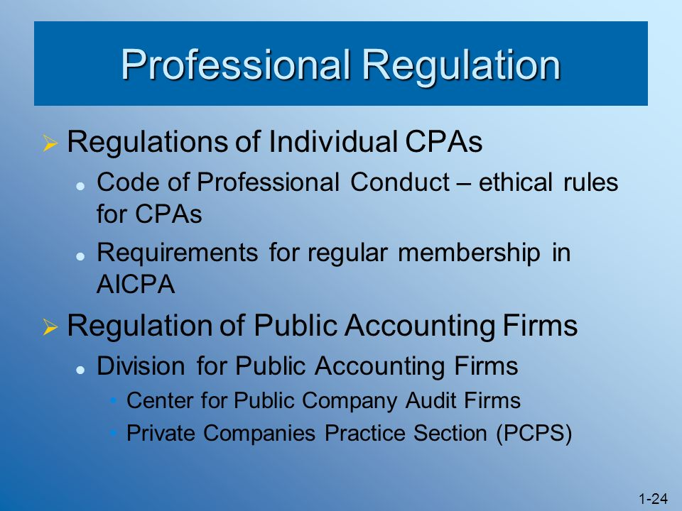 1-24 Professional Regulation Regulations of Individual CPAs Code of Professional Conduct – ethical rules for CPAs Requirements for regular membership