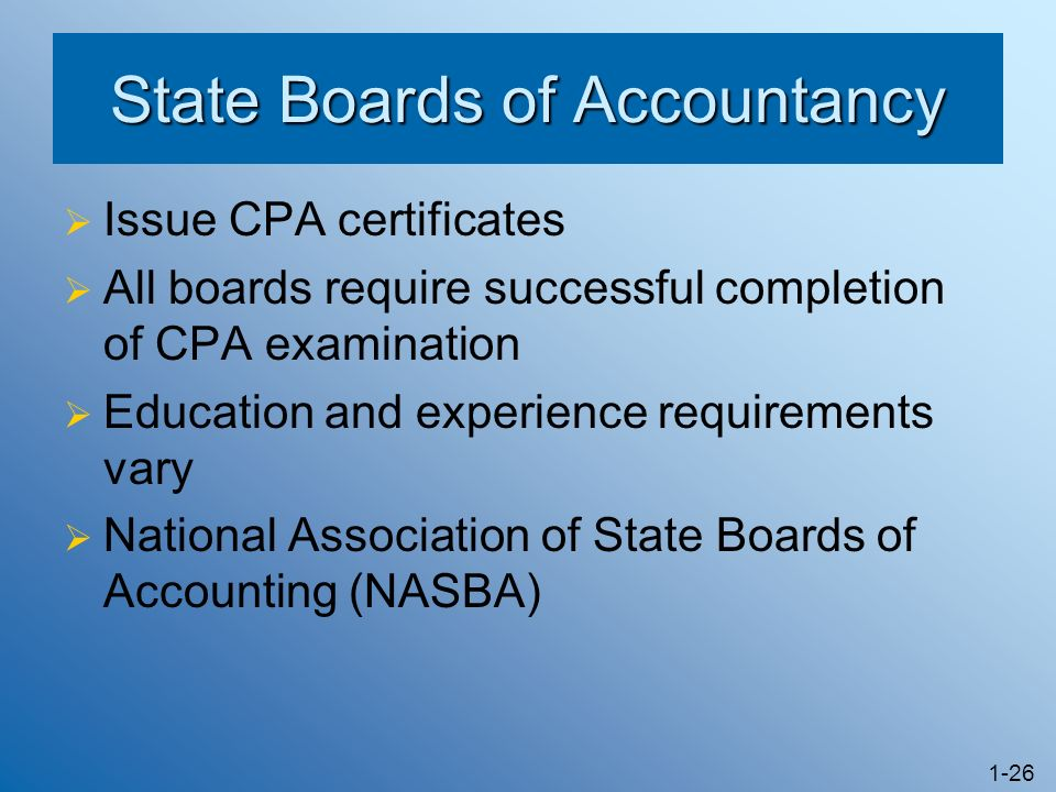 1-26 State Boards of Accountancy Issue CPA certificates All boards require successful completion of CPA examination Education and experience requirements vary National Association of State Boards of Accounting (NASBA)