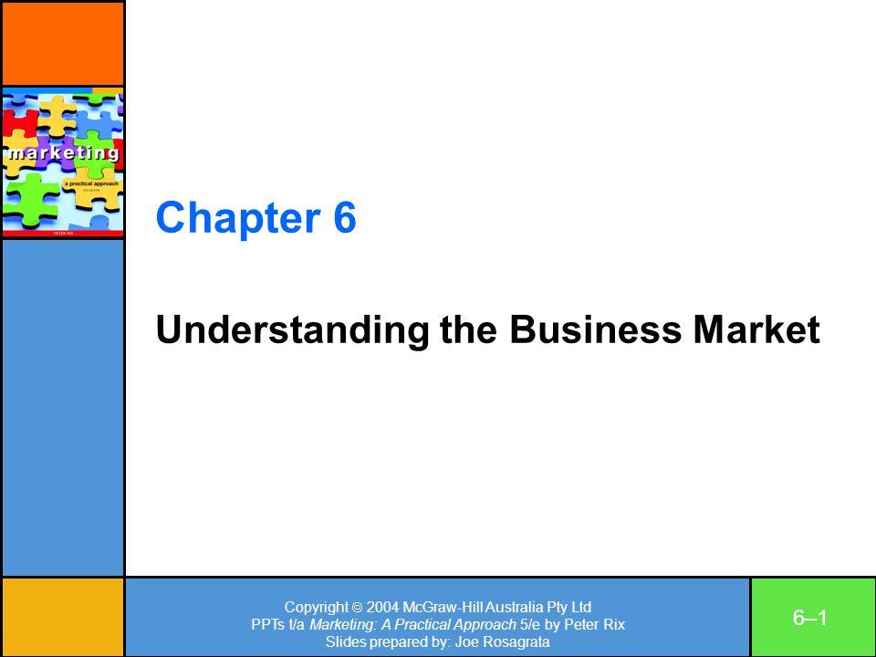 Copyright 2004 McGraw-Hill Australia Pty Ltd PPTs t/a Marketing: A Practical Approach 5/e by Peter Rix Slides prepared by: Joe Rosagrata 6–16–1 Chapte