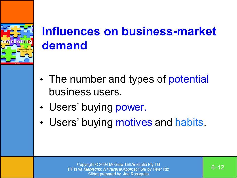 Copyright 2004 McGraw-Hill Australia Pty Ltd PPTs t/a Marketing: A Practical Approach 5/e by Peter Rix Slides prepared by: Joe Rosagrata 6–12 Influenc