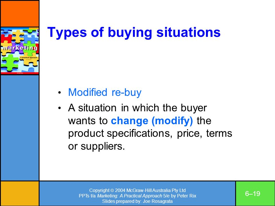 Copyright 2004 McGraw-Hill Australia Pty Ltd PPTs t/a Marketing: A Practical Approach 5/e by Peter Rix Slides prepared by: Joe Rosagrata 6–19 Types of buying situations Modified re-buy A situation in which the buyer wants to change (modify) the product specifications, price, terms or suppliers.