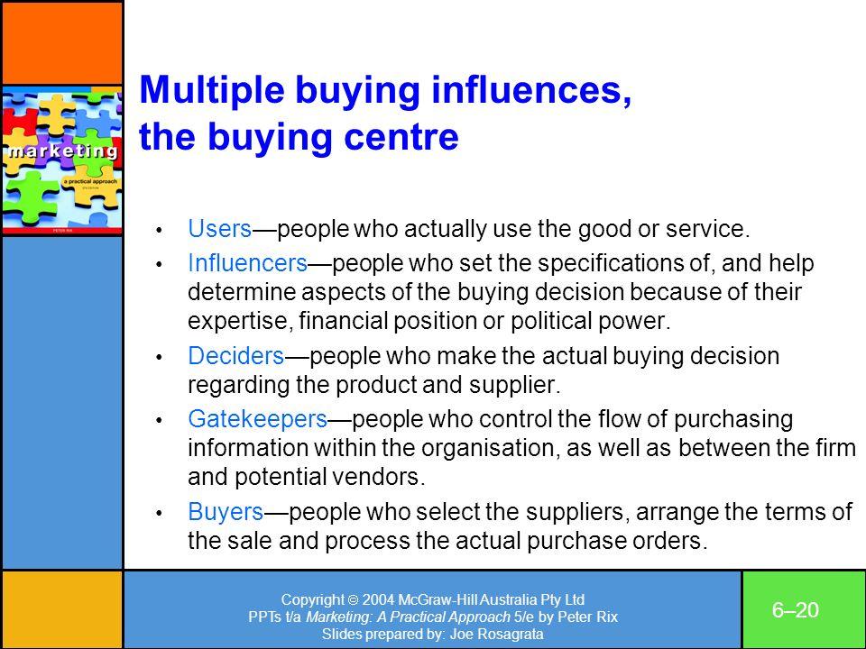 Copyright 2004 McGraw-Hill Australia Pty Ltd PPTs t/a Marketing: A Practical Approach 5/e by Peter Rix Slides prepared by: Joe Rosagrata 6–20 Multiple