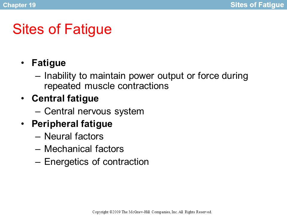 Chapter 19 Copyright ©2009 The McGraw-Hill Companies, Inc. All Rights Reserved. Sites of Fatigue Fatigue –Inability to maintain power output or force