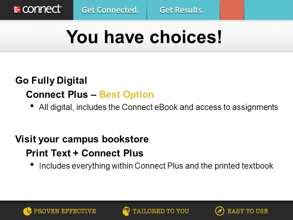 Go Fully Digital Connect Plus – Best Option All digital, includes the Connect eBook and access to assignments Visit your campus bookstore Print Text + Connect Plus Includes everything within Connect Plus and the printed textbook You have choices!