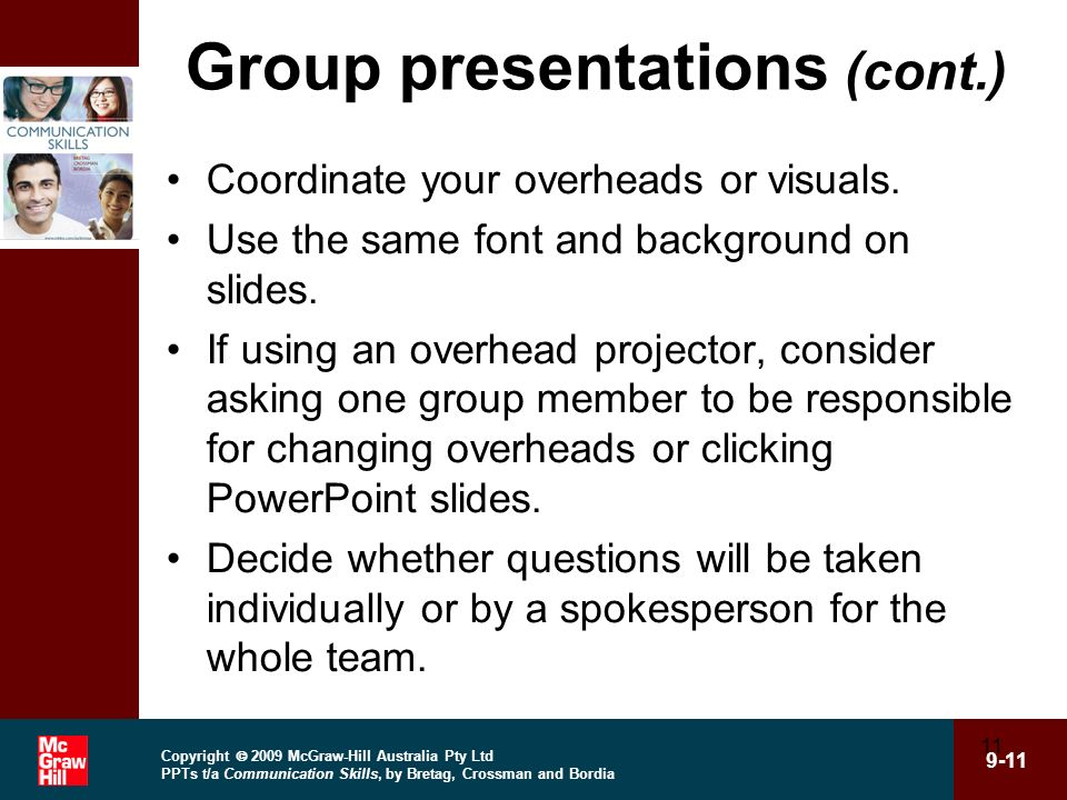 Copyright 2009 McGraw-Hill Australia Pty Ltd PPTs t/a Communication Skills, by Bretag, Crossman and Bordia 9-11 11 Group presentations (cont.) Coordin
