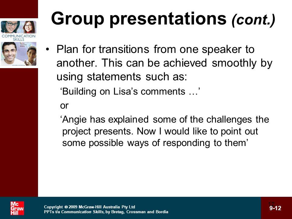 Copyright 2009 McGraw-Hill Australia Pty Ltd PPTs t/a Communication Skills, by Bretag, Crossman and Bordia 9-12 12 Group presentations (cont.) Plan fo