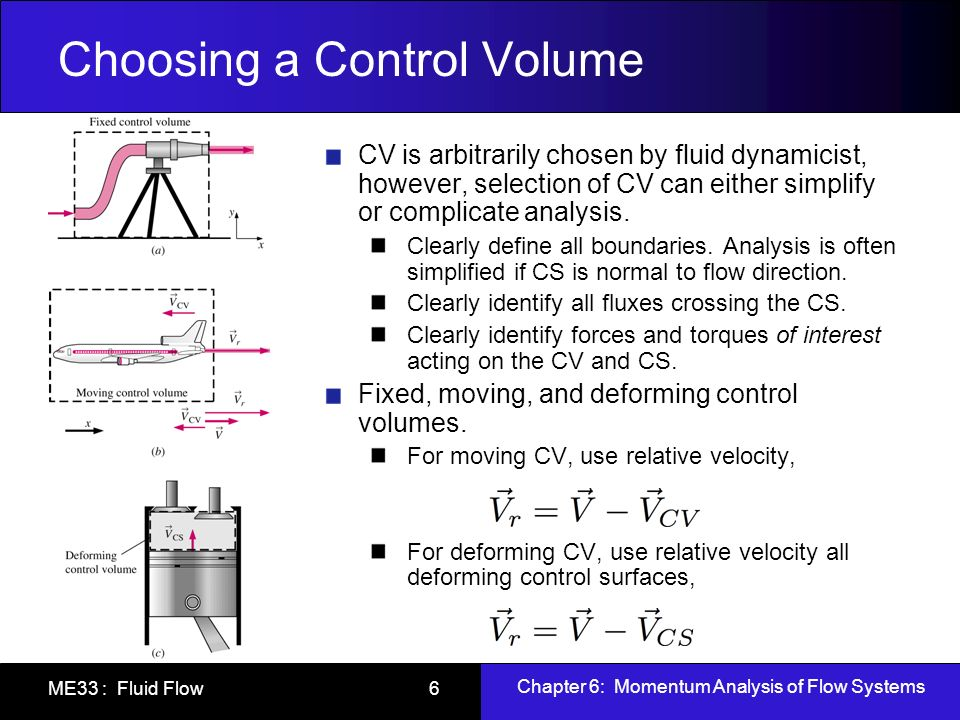 Chapter 6: Momentum Analysis of Flow Systems ME33 : Fluid Flow 7 Forces Acting on a CV Forces acting on CV consist of body forces that act throughout the entire body of the CV (such as gravity, electric, and magnetic forces) and surface forces that act on the control surface (such as pressure and viscous forces, and reaction forces at points of contact).