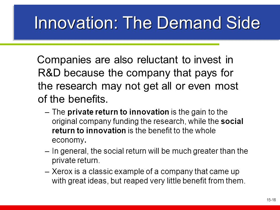 15-18 Innovation: The Demand Side Companies are also reluctant to invest in R&D because the company that pays for the research may not get all or even most of the benefits.